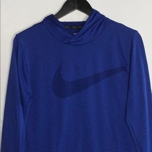Nike Boys Blue Dri Fit Thin Long Sleeve With Hood